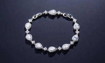 CZ Crystal Sparkling Bridal or Bridesmaid Bracelet Silver, Gold, Rose Gold