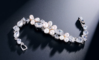 Pearl and CZ Crystal Bracelet for Bridesmaids