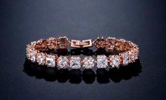 CZ Crystal Wedding Bracelet Rose Gold