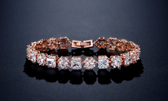CZ Crystal Wedding Bracelet Rose Gold