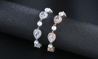 Pearl and CZ Wedding Bracelet in Silver or Rose Gold
