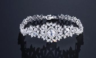 Affordable Cubic Zirconia Silver Wedding Bracelet