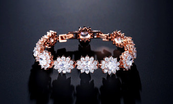 CZ Crystal Wedding Bracelet in Rose Gold