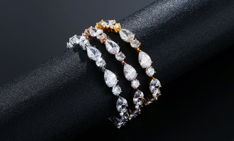 Cubic Zirconia Bridal Bracelet in Silver, Gold, or Rose Gold