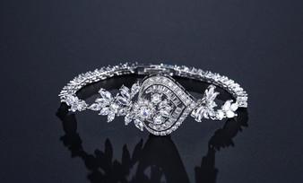 Affordable CZ Crystal Bridal Bracelet in Silver