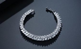CZ Gemstone Bridal Bracelet in Silver