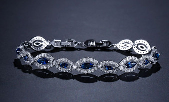 Addison Sapphire Blue CZ Gemstone Bridal Bracelet