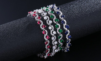 5 Pieces Juliet Stunning Silver Plated CZ Wedding and Formal Bracelet