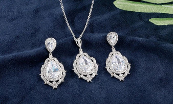 Cubic Zirconia Flower Bridesmaid Jewelry Set