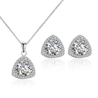 CZ Clear Crystal Pendant Bridesmaid Jewelry Set
