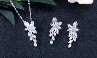 Affordable CZ Crystal Bridesmaid necklace and earrings set in Silver