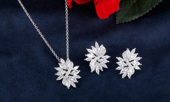 Cluster CZ Bridesmaid Jewelry in Silver