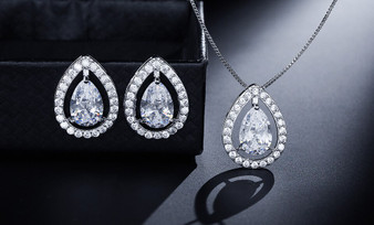 Clear CZ Pendant Wedding Jewelry Set in Silver, Gold, Rose Gold