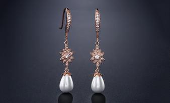 Elegant Pearl and CZ Vintage Look Bridal Earrings in Rose Gold