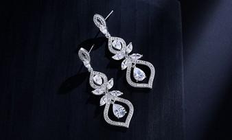 Cubic Zirconia Wedding Earrings in Silver, Rose Gold
