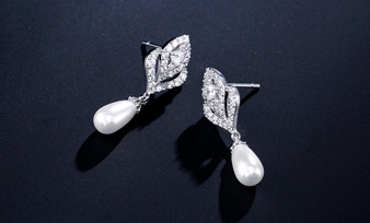 Pearl and CZ Wedding Earrings Silver or Gold Plated