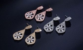 Glamorous Cubic Zirconia Wedding Earrings in Silver or Rose Gold