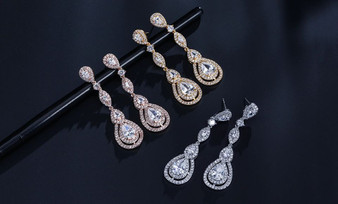 CZ Bridal Earrings in Silver, Gold, Rose Gold