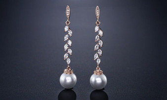 CZ and Pearl Drop Wedding Earrings in Silver, Rose Gold