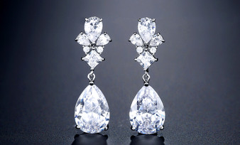Elegant CZ Drop Wedding Earrings in Silver