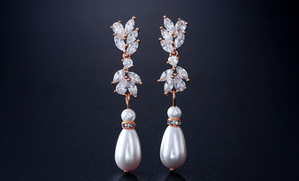 Dazzling Pearl and CZ Bridal Earrings in Rose Gold