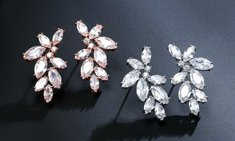 Floral CZ Wedding Earrings in Silver, Rose Gold