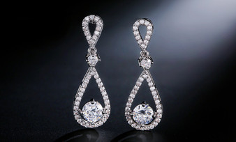 Brilliant CZ Wedding and Formal Earrings in Silver