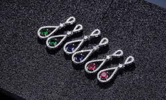 Brilliant Red, Blue, or Green CZ Crystal Wedding Earrings
