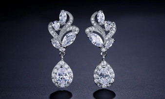 Elegant Cubic Zirconia Drop Bridal Earrings in Silver, Rose Gold