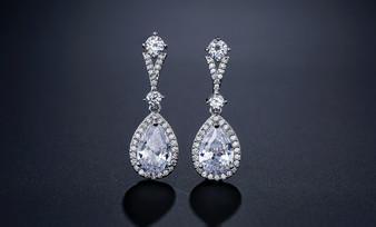 CZ Crystal Wedding Earrings in Silver