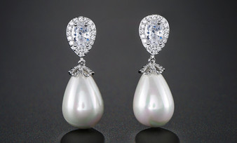 Classic Pearl and CZ Wedding Earrings in Silver