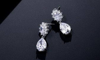 CZ Crystal Dangle Wedding & Prom Earrings in Silver
