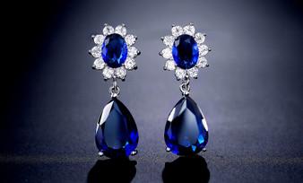 Blue Sapphire CZ Crystal Dangle Wedding Earrings