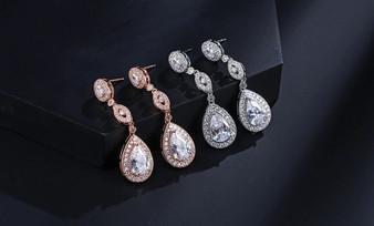 Cubic Zirconia Drop Bridal Earrings in Silver, Rose Gold