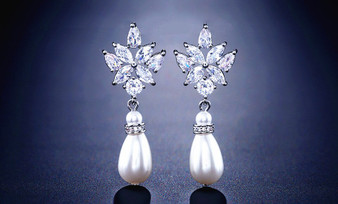 CZ and Pearl Bridesmaid Earrings in Silver