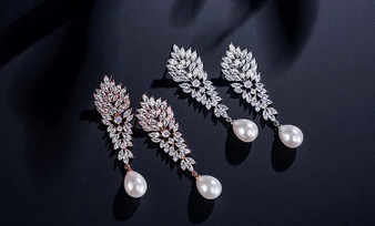 Cubic Zirconia and Pearl Drop Wedding Earrings