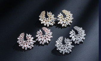 Glamorous CZ Wedding and Formal Earrings in Silver, Gold, Rose Gold