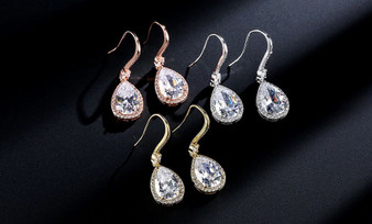 Cubic Zirconia Drop Wedding Earrings in Silver, Gold, Rose Gold