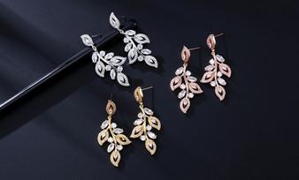 Leaf Design CZ Crystal Wedding Earrings