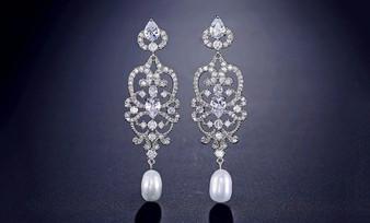 CZ Crystal and Pearl Drop Wedding Earrings