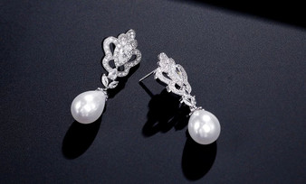 Chic CZ Wedding Earrings with Pearl Drop