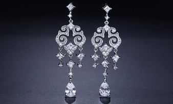 Cubic Zirconia Bridal Earrings - Silver, Gold, Rose Gold