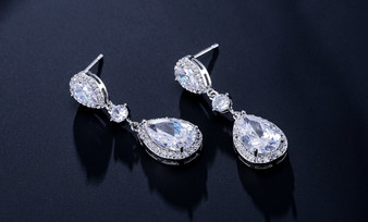 Clear CZ Drop Wedding and Formal Earrings in Silver, Gold, Rose Gold