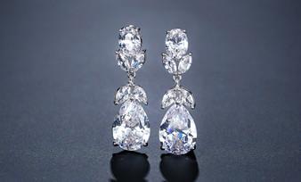 Cubic Zirconia Drop Bridal Earrings in Silver
