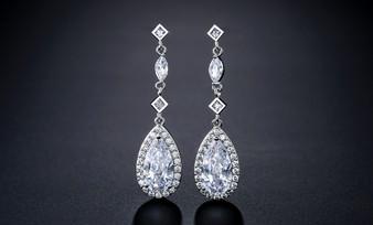 CZ Crystal Teardrop Dangle Bridal Earrings