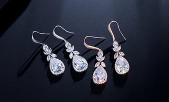 Brilliant Teardrop CZ  Bridal Earrings in Silver, Rose Gold