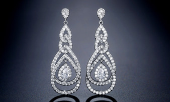 CZ Crystal Chandelier Bridal and Bridesmaid Earrings in Silver