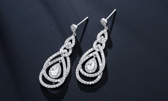 Cubic Zirconia Crystal Chandelier Bridal and Bridesmaid Earrings in Silver
