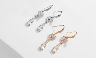Cubic Zirconia Drop Wedding Earrings in Silver, Rose Gold