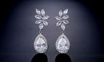 CZ  Crystal Leaf Teardrop Wedding Earrings - Silver, Rose Gold